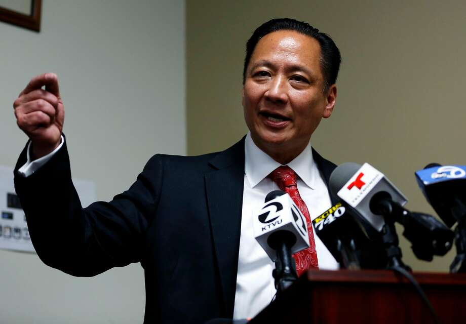 Public Defender Jeff Adachi speaks to journalists about recently uncovered racist text messages sent by San Francisco Police Officer Jason Lai during a press conference in San Francisco, California, on Tuesday, April 26, 2016. Photo: Connor Radnovich, The Chronicle