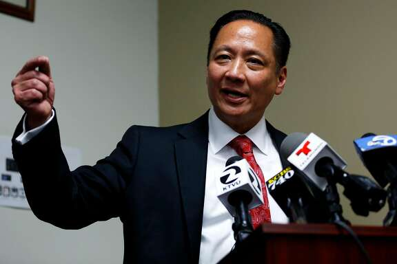 Public Defender Jeff Adachi speaks to journalists about recently uncovered racist text messages sent by San Francisco Police Officer Jason Lai during a press conference in San Francisco, California, on Tuesday, April 26, 2016.
