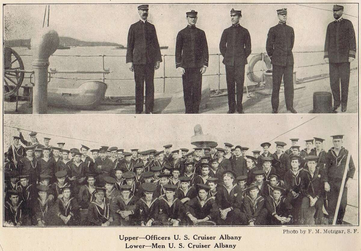 The 1909 San Francisco Portola Festival, was in honor of Don Gaspar de Portola, the discoverer of San Francisco Bay and first Governor of California. It also was a celebration of the city's rise from the ruins of the 1906 earthquake and fire. Shown, sailors from the U.S. Cruiser Albany. Souvenir brochure from the collection of Bob Bragman