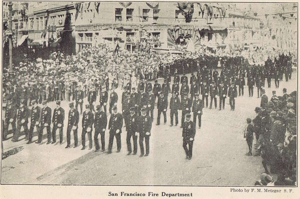 San Francisco Fire Department marching in the 1909 San Francisco Portola Festival, in honor of Don Gaspar de Portola, the discoverer of San Francisco Bay and first Governor of California. It also was a celebration of the city's rise from the ruins of the 1906 earthquake and fire. Souvenir brochure from the collection of Bob Bragman