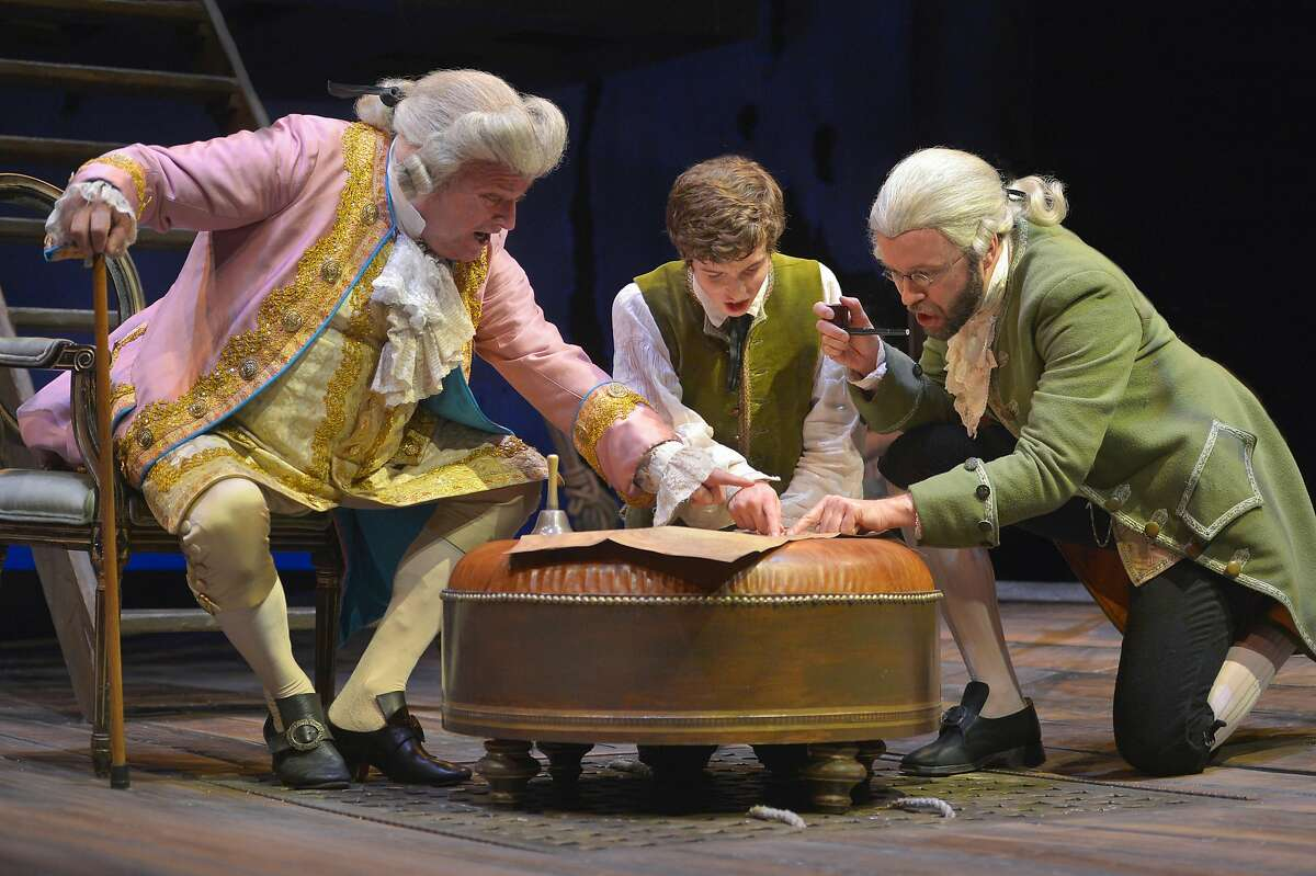 """Matt DeCaro (left) is Squire Trelawney, John Babbo (center) is Jim Hawkins and Alex Moggridge is Dr. Livesey in Mary Zimmerman's adaptation of the Robert Louis Stevenson classic """"Treasure Island,"""" a co-production of Berkeley Repertory Theatre and Chicago's Lookingglass Theatre Company. The show runs through June 5 at the Peet's Theatre. Photo by Kevin Berne/Berkeley Repertory Theatre"""