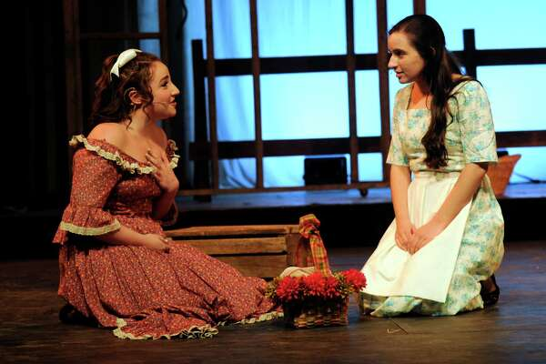 "Isabella Mercaldo, left, plays Ado Annie and Marina Kolitsas plays Laurey Williams in Immaculate High School's spring musical ""Oklahoma!""  this week, Thursday through Saturday. This year's cast and crew numbers 70 students. Show times are Thursday, April 28 and Friday April 29 at 7pm, and Saturday, April 30 at 2pm  and 7pm."