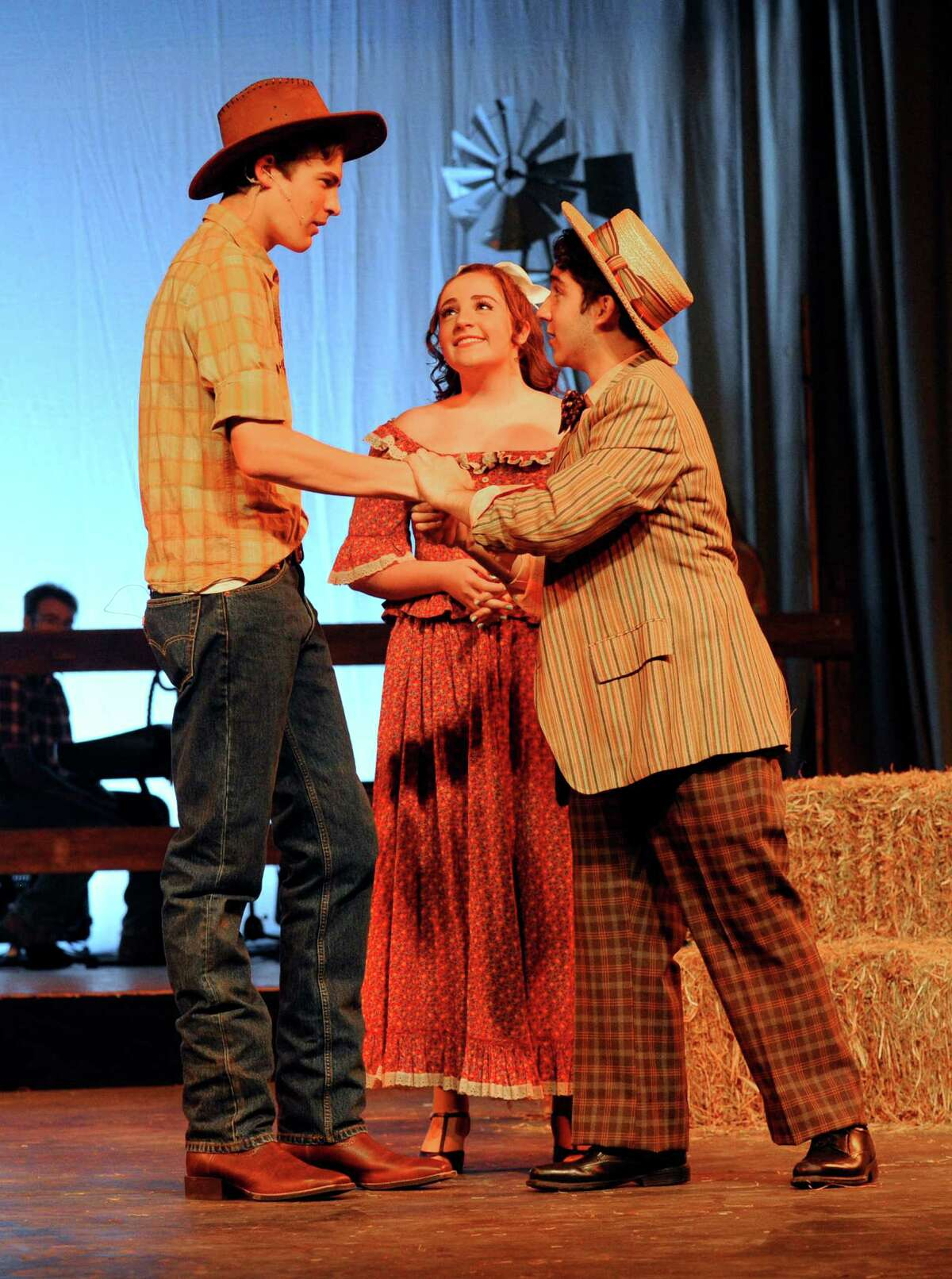 From left, Alex Gerbo, Isabella Mercaldo and Giovanni Fardella perform a scene from