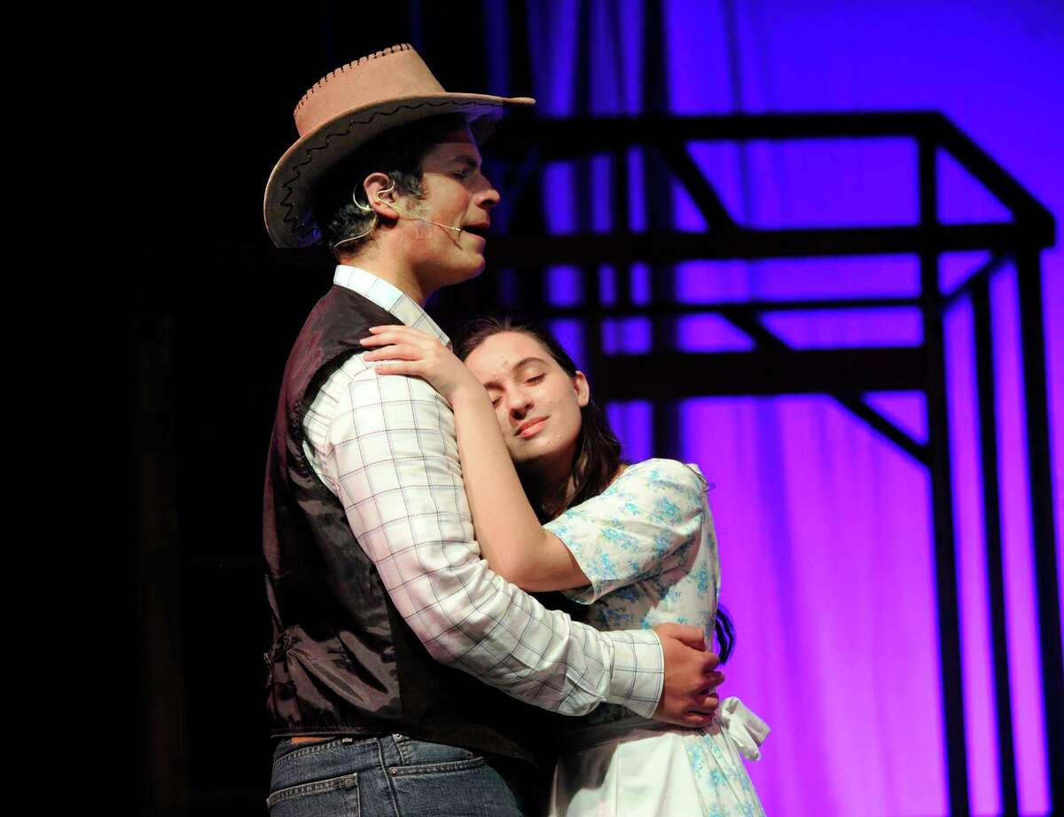 """Jack Garvey plays Curly and Marina Kolitsas plays Laurey Williams in Immaculate High School's spring musical """"Oklahoma!"""" this week, Thursday through Saturday. This year's cast and crew numbers 70 students. Show times are Thursday, April 28 and Friday April 29 at 7pm, and Saturday, April 30 at 2pm and 7pm."""