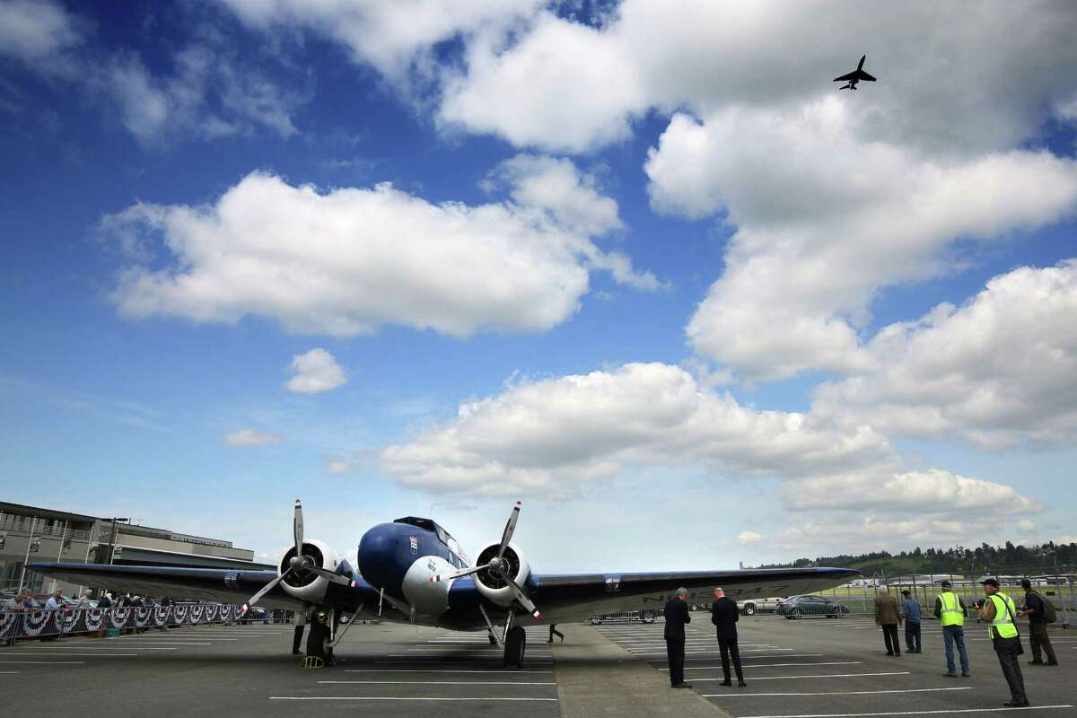 The 1933 Boeing 247D Airliner arrived at the Museum of Flight after its final flight, Tuesday, April 26, 2016. The plane is the oldest flyable Boeing, all-metal airliner. The plane will be on display in front of the museum throughout the summer, before it is placed in the new Aviation Pavilion.