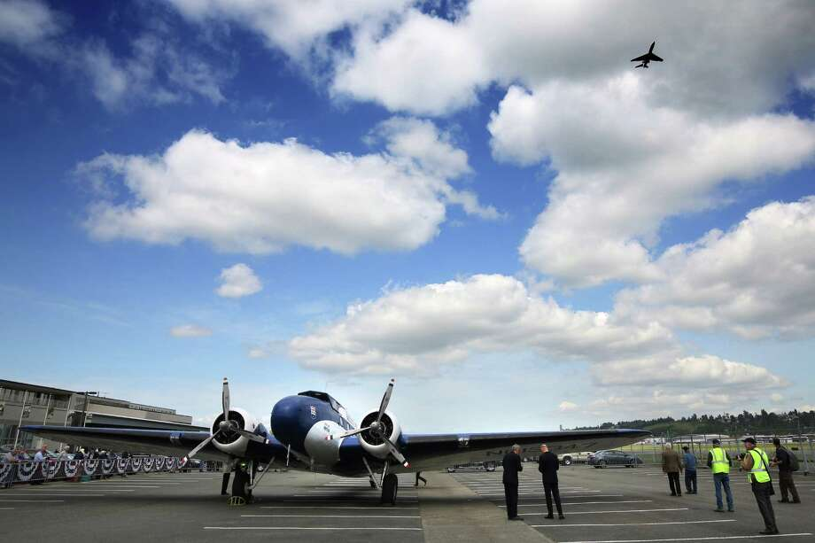 The 1933 Boeing 247D Airliner arrived at the Museum of Flight after its final flight, Tuesday, April 26, 2016.  The plane is the oldest flyable Boeing, all-metal airliner. The plane will be on display in front of the museum throughout the summer, before it is placed in the new Aviation Pavilion. Photo: GENNA MARTIN, SEATTLEPI.COM / SEATTLEPI.COM