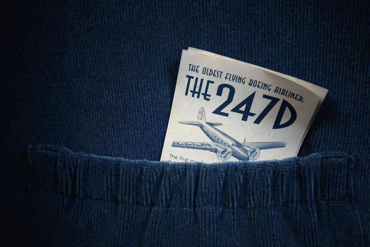 A brochure is seen in a seat pocket of the 1933 Boeing 247D Airliner at the Museum of Flight after its final flight, Tuesday, April 26, 2016. The plane is the oldest flyable Boeing, all-metal airliner. The plane will be on display in front of the museum throughout the summer, before it is placed in the new Aviation Pavilion.