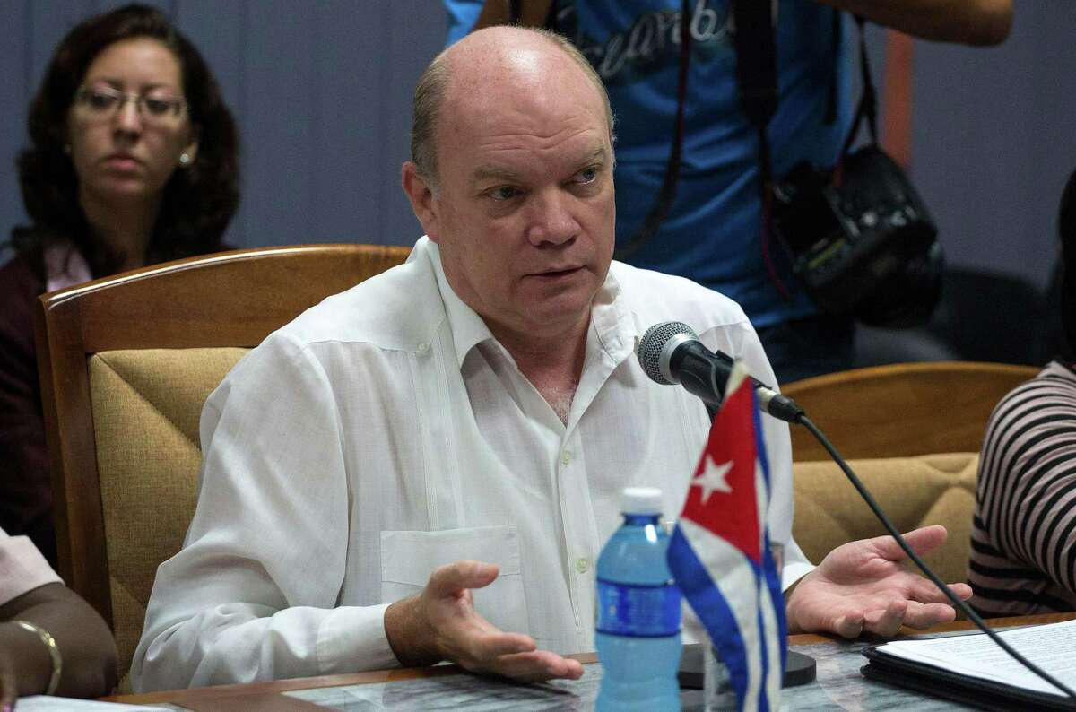 Cuba's Foreign Trade minister Rodrigo Malmierca speaks during a meeting with US Texas Governor Greg Abbott (out of frame) in Havana on December 2, 2015. Abbott is on a two-day visit to Cuba with a business delegation looking to reintroduce Texas agricultural products to a growing Cuban market. AFP PHOTO / POOL-DESMOND BOYLANDESMOND BOYLAN/AFP/Getty Images