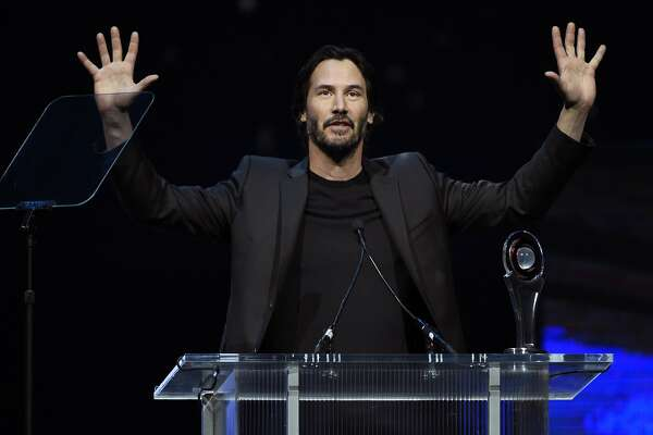 Actor Keanu Reeves accepts the CinemaCon Vanguard Award during the CinemaCon 2016 Big Screen Achievement Awards on Thursday, April 14, 2016, in Las Vegas. (Photo by Chris Pizzello/Invision/AP)