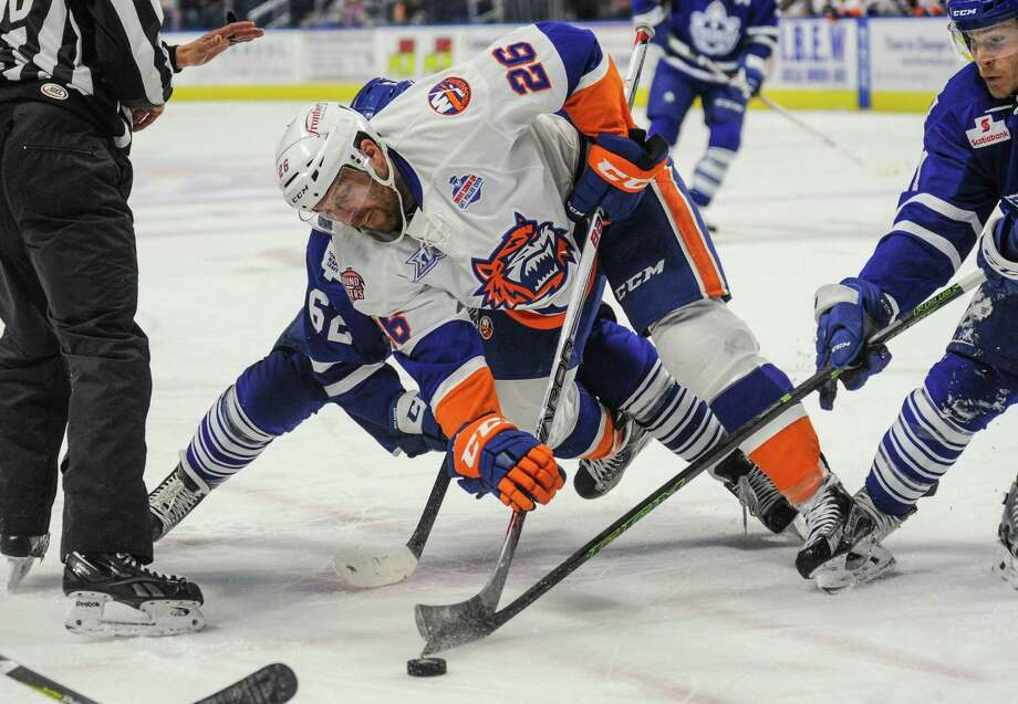 Marc-Andre Cliche (26) of the Bridgeport Sound Tigers faces off during Game 2 of the 2016 Calder Cup Playoffs against the Toronto Marlies at Webster Bank Arena on April 24, 2016 in Bridgeport, Connecticut. Photo: Gregory Vasil / For Hearst Connecticut Media / Connecticut Post Freelance