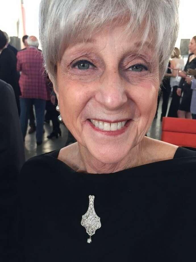 Nancy Livingston wearing brooch that has been worn at every Film Festival since start