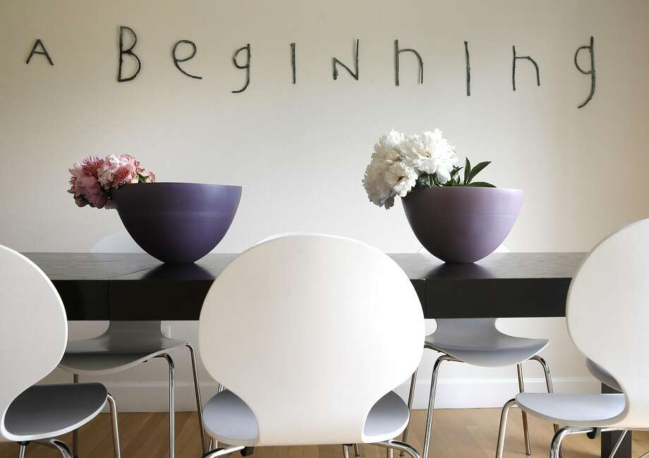 """The dinning room has a bronze installation by Martin Bialas called, """"A Beginning"""" at art consultant Alexandra Ray's home in San Rafael, California on Tues. April 26, 2016. Ray is constantly mixing artwork with her home furnishings but manages to keep the house feeling like a house not a gallery. Photo: Michael Macor, The Chronicle"""