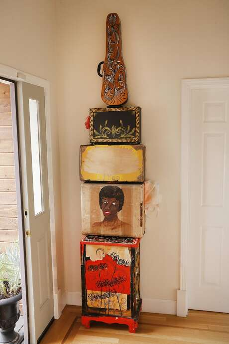 """A piece by Shrine called """"Loved"""" greets visitors to the San Rafael home of art consultant Alexandra Ray. Photo: Michael Macor, The Chronicle"""