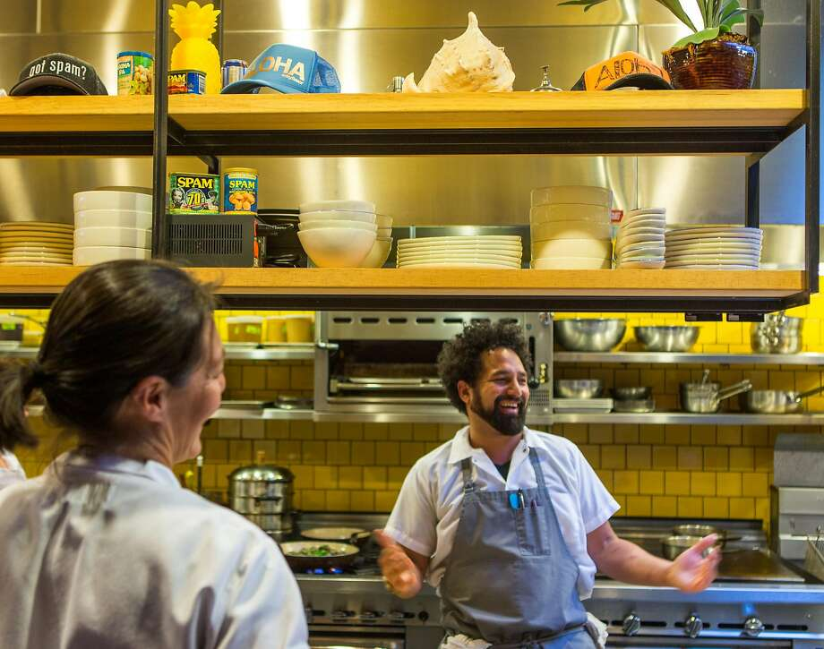 Chef Ravi Kapur talks with the staff in the open kitchen of Liholiho Yacht Club in S.F. Photo: Nathaniel Y. Downes / The Chronicle 2015