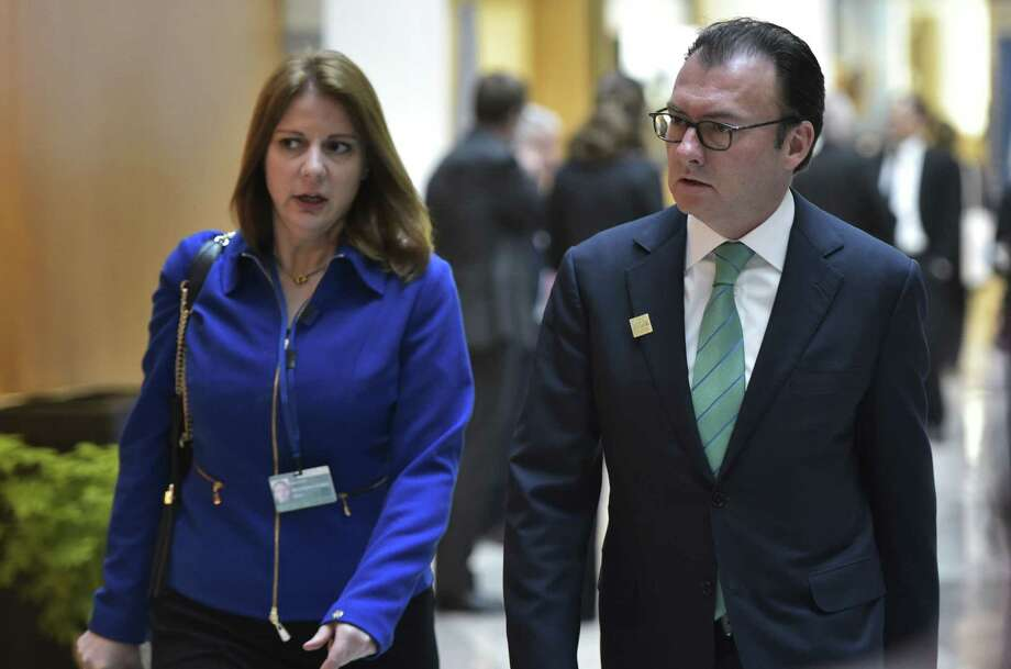 Mexico's Finance Minister Luis Videgaray Caso (R) arrives for a G20 Finance Ministers and Central Bank Governors Meeting during the annual International Monetary Fund, World Bank Spring Meetings at the IMF on April 15, 2016 in Washington, DC. / AFP PHOTO / Mandel NganMANDEL NGAN/AFP/Getty Images Photo: MANDEL NGAN, Staff / AFP or licensors