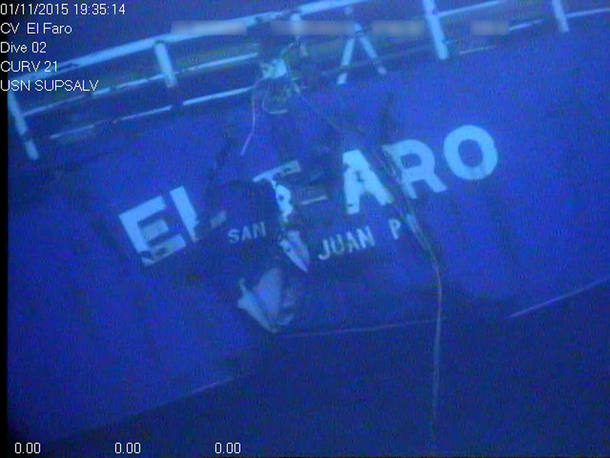 This undated image made from a video and released Tuesday, April 26, 2016, by the National Transportation Safety Board shows the stern of the sunken ship El Faro. The NTSB announced that the data recorder was located northeast of Acklins and Crooked Islands, Bahamas. El Faro, a 790-foot freighter, sank last October after getting caught in Hurricane Joaquin. The data recorder is capable of recording conversations and sounds on the El Faro's bridge, which may help investigators better understand the final moments of the ship's final journey. (National Transportation Safety Board via AP)