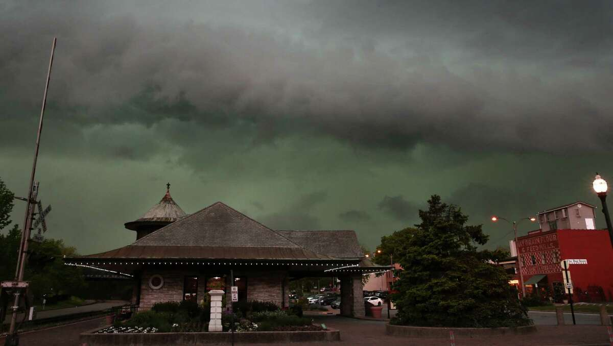Storms clouds form above the Amtrak Station in Kirkwood, Mo., Tuesday, April 26, 2016. (Robert Cohen/St. Louis Post-Dispatch via AP) EDWARDSVILLE INTELLIGENCER OUT; THE ALTON TELEGRAPH OUT; MANDATORY CREDIT