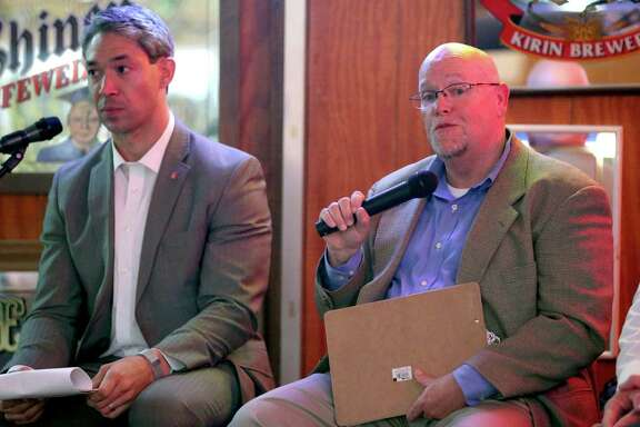 Councilman Ron Nirenberg (left) listens on April 26, 2016 at Hills and Dales Ice House as Burl Yarbrough, president of San Antonio Missions, talks about the prosects of professional sports expansion in San Antonio.