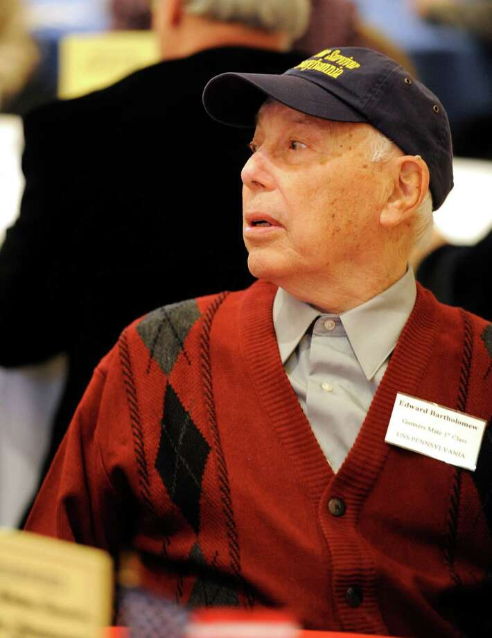 Pearl Harbor survivor Edward Bartholomew in attendance at the 70th Anniversary of Pearl Harbor Day Memorial Observance held at the Zaloga Post in Albany, N.Y. Dec. 7, 2011.  Bartholomew was stationed on the USS Pennsylvania during the attack.   (Skip Dickstein / Times Union) Photo: SKIP DICKSTEIN / 2011