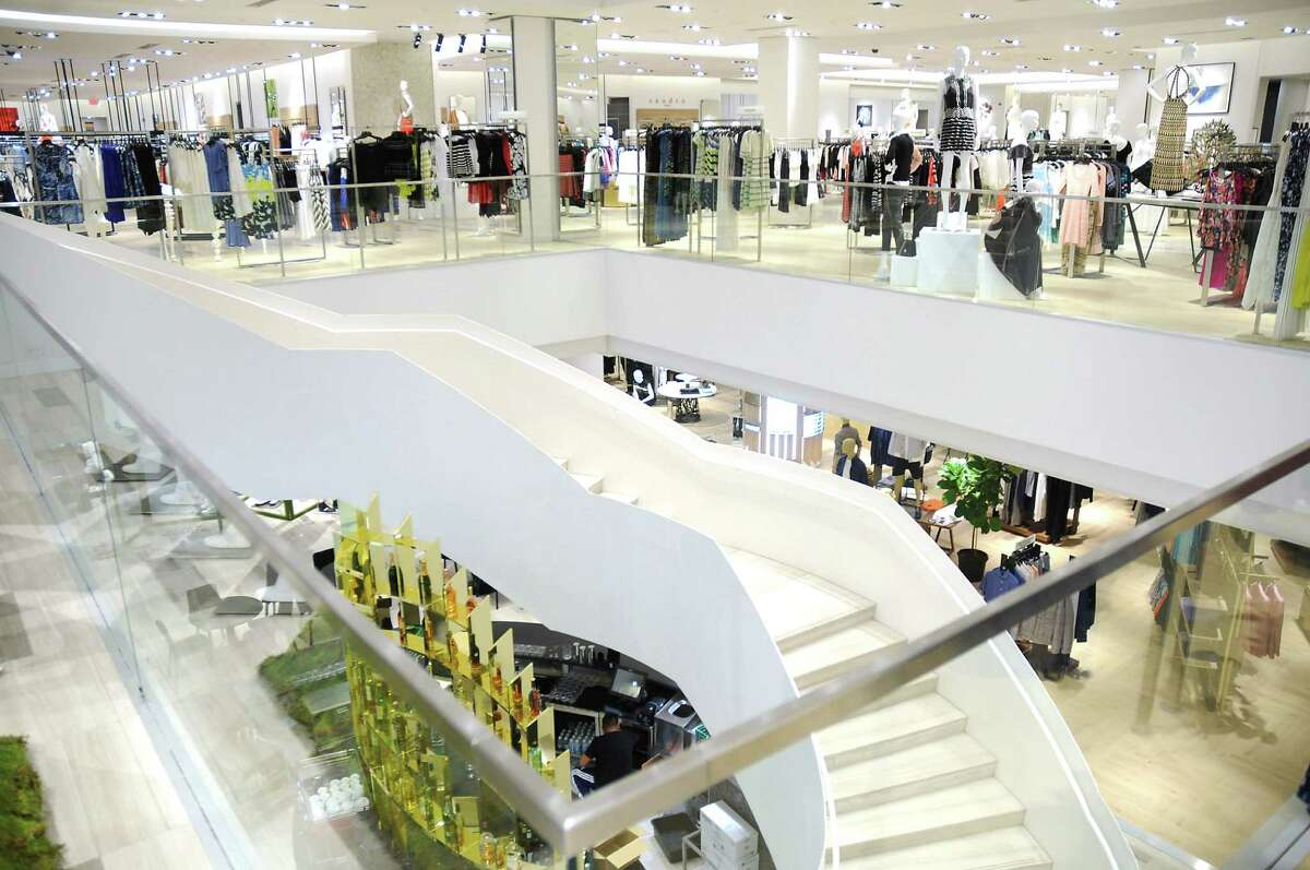 A view of the stairs from the second floor at the new Saks Fifth Avenue store in the Galleria Tuesday April 26,2016(Dave Rossman Photo)