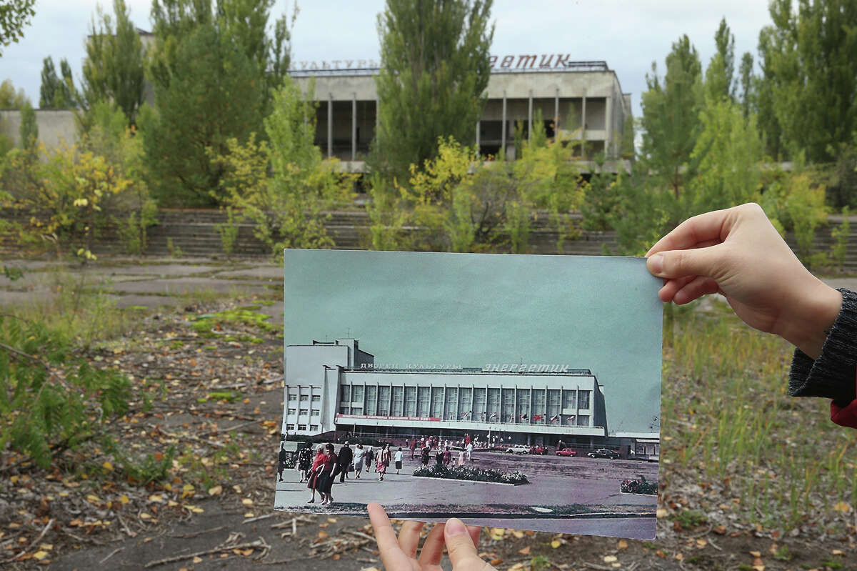 """A photo shows the main square of Pripyat, Ukraine - just a few miles from the former nuclear plant - and the """"Energetik"""" cultural center before 1986 at the same abandond site today."""