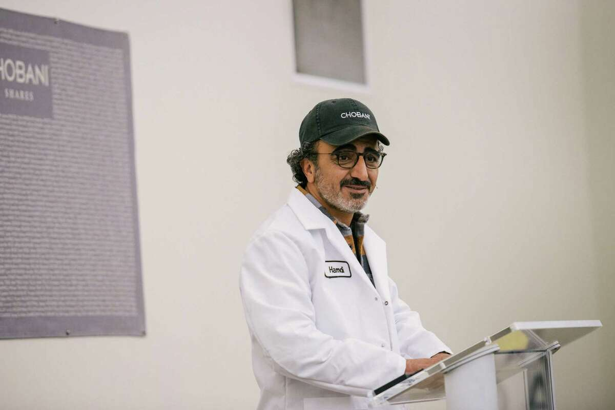 Hamdi Ulukaya, who founded the yogurt company Chobani in 2005, during an announcement that he would give employees shares worth up to 10 percent of the company when it goes public or is sold, in New Berlin, N.Y., April 26, 2016. The ownership stake in the yogurt company could make some of the 2,000 full-time employees into millionaires. (Alexandra Hootnick/The New York Times)