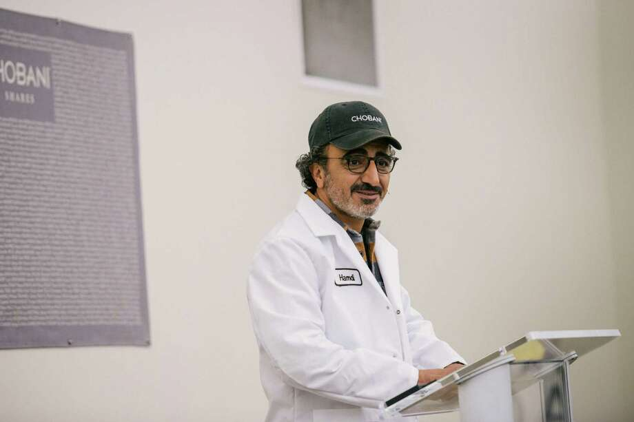 Hamdi Ulukaya, who founded the yogurt company Chobani in 2005, during an announcement that he would give employees shares worth up to 10 percent of the company when it goes public or is sold, in New Berlin, N.Y., April 26, 2016. The ownership stake in the yogurt company could make some of the 2,000 full-time employees into millionaires. (Alexandra Hootnick/The New York Times) Photo: ALEXANDRA HOOTNICK, STR / NYTNS