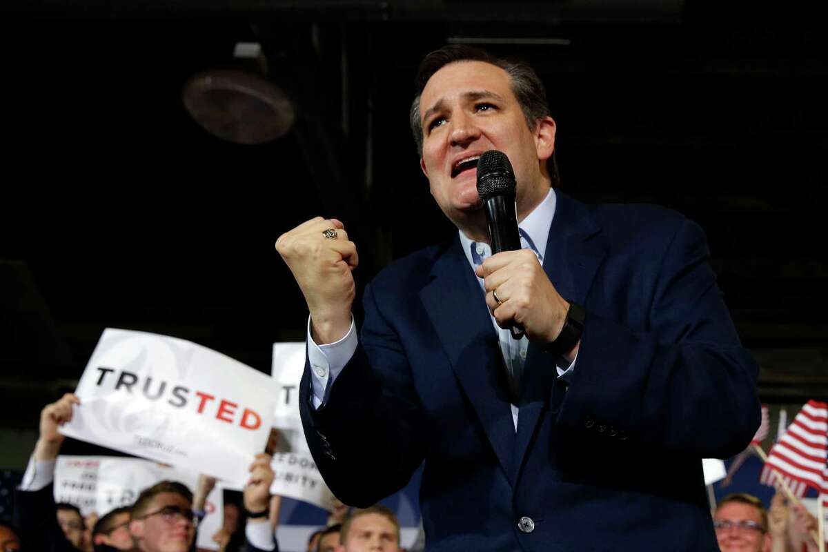 Republican presidential candidate Sen. Ted Cruz, R-Texas, speaks during a rally at the Hoosier Gym in Knightstown, Ind., Tuesday, April 26, 2016. (AP Photo/Michael Conroy)