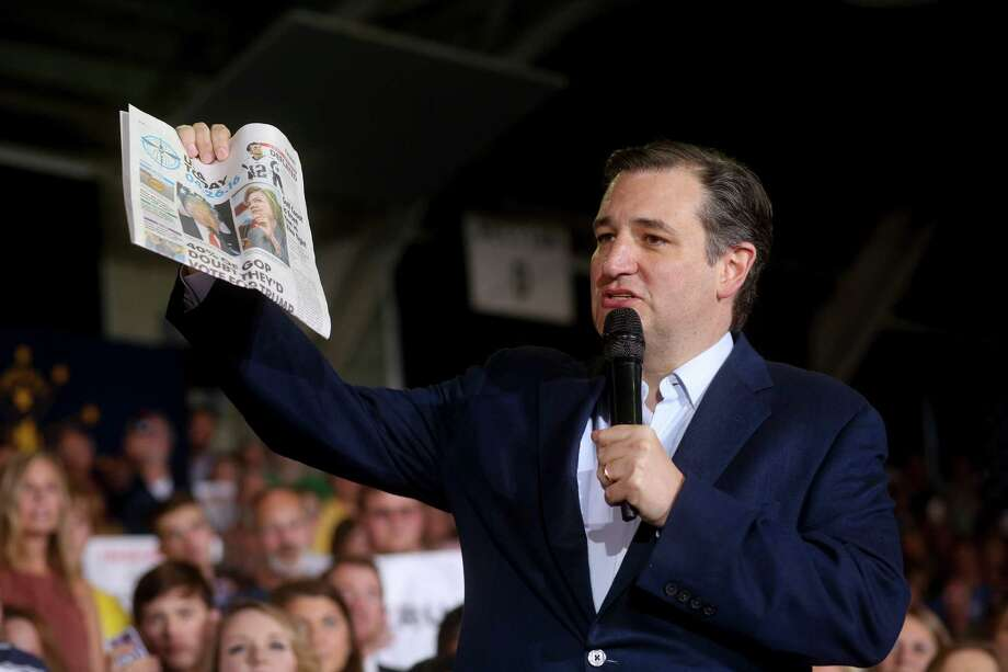 Sen. Ted Cruz holds up a copy of USA Today to illustrate a point about what he said was biased media coverage during a campaign rally in Knightstown, Ind., April 26, 2016. With Republican primary voters handing victories to Donald Trump in five northeastern states on Tuesday, Cruz was already campaigning in Indiana, which votes on May 3. (Andrew Spear/The New York Times) Photo: ANDREW SPEAR, NYT / NYTNS