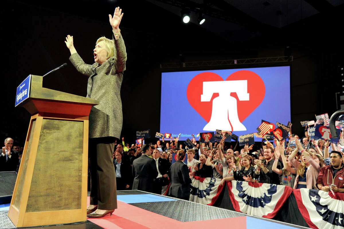 Democratic presidential candidate Hillary Clinton onstage at her victory party inside the Pennsylvania Convention Center after winning the state's primary on Tuesday, April 26, 2016.