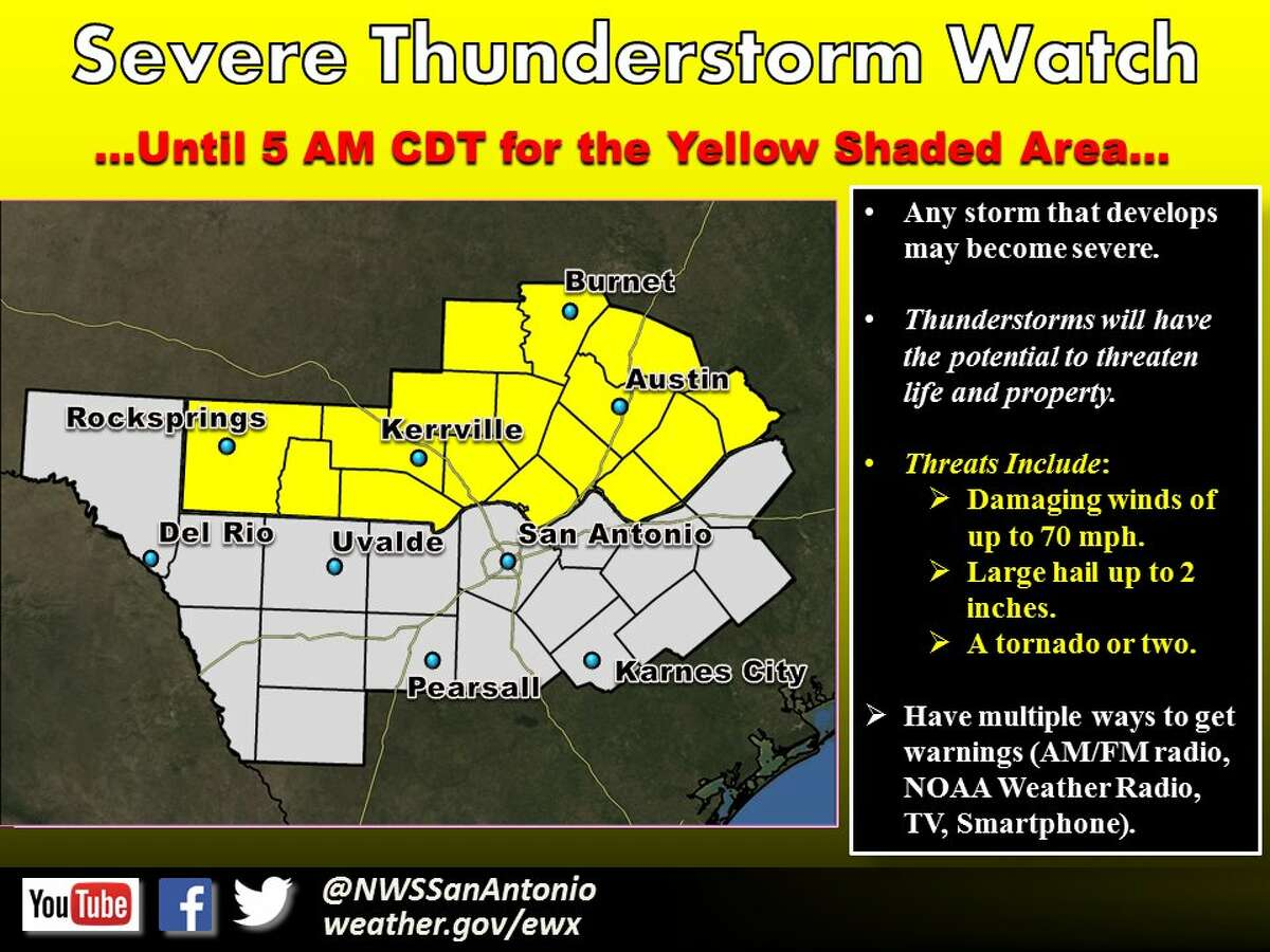 The National Weather Service has issued a Severe Thunderstorm Watch for areas north of San Antonio until 5 a.m. Wednesday April 27, 2016.