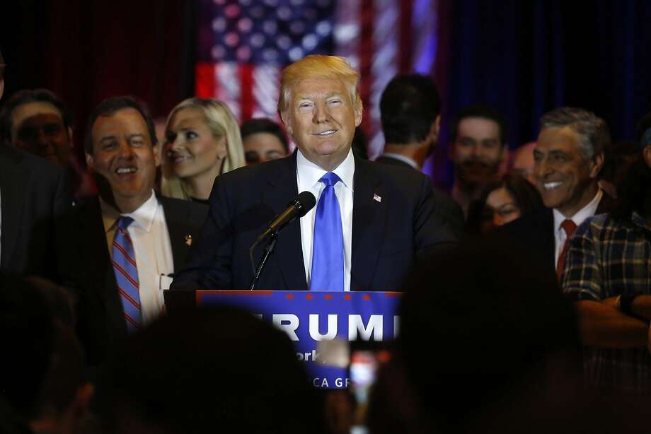 Republican presidential candidate Donald Trump addresses the media at New York's Trump Tower after his primary wins. Photo: Carolyn Cole, TNS