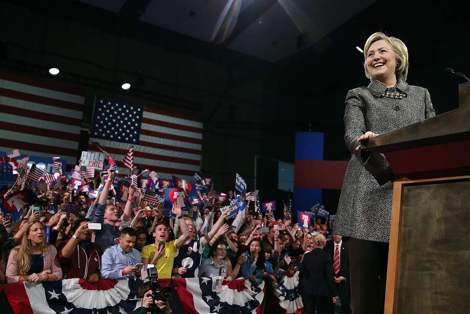 Hillary Clinton speaks to supporters at the Philadelphia Convention Center after wins in Pennsylvania and three other states. Photo: Justin Sullivan, Getty Images