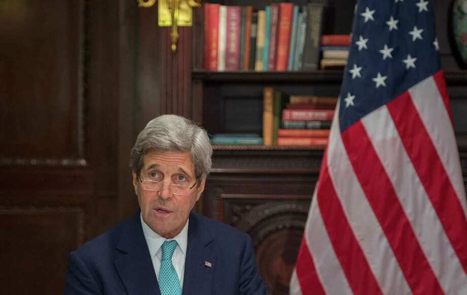 US Secretary of State John Kerry speaks on April 22, 2016 in New York. Kerry met with Iran's Foreign Minister Mohammad Javad Zarif.  / AFP PHOTO / Bryan R. SmithBRYAN R. SMITH/AFP/Getty Images Photo: BRYAN R. SMITH, Stringer / AFP/Getty Images / AFP or licensors