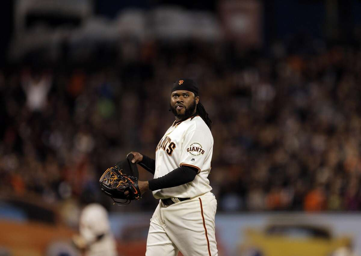 Johnny Cueto (47) walks off the mound after Derek Norris ((3) flied out to left in the fourth inning as the San Francisco Giants played the San Diego Padres at AT&T Park in San Francisco, Calif., on Tuesday, April 26, 2016.