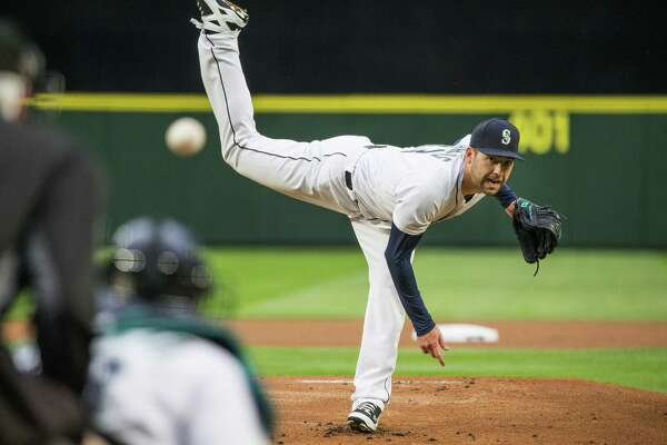 Seattle Mariners pitcher Nathan Karns carried a one-hitter into the seventh inning against the Houston Astros on Tuesday, April 26, 2016, at Safeco Field in Seattle.