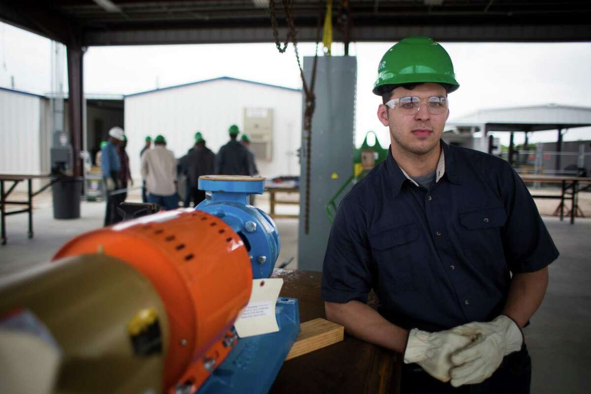 Jared Pitts, 22, is on his fifth training week at the Fluor U.S Gulf Coast Craft Training Center where he is training to become a millwright who will install, align and maintain the motors and pumps that move materials though pipelines. Tuesday, April 26, 2016, in Pasadena.