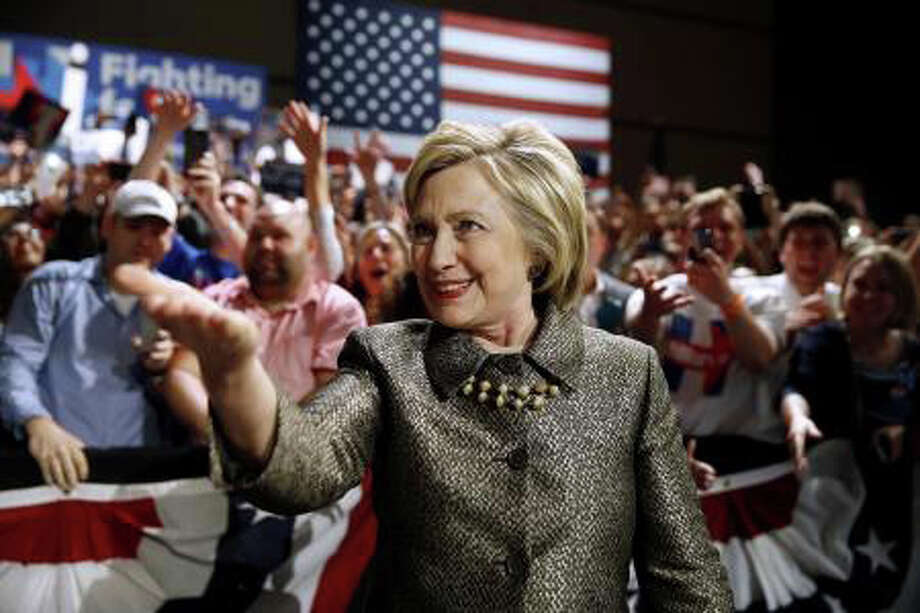 Hillary Clinton celebrates her victory in the Pennsylvania Democratic primary Tuesday, when she also won primaries in Connecticut, Maryland and Delaware over U.S. Bernie Sanders. Photo: Associated Press / Associated Press / Westport News