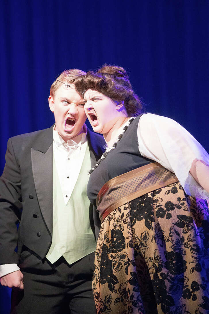 """Kingwood High junior Chase Callahan, left, shown with Jenna Redmond, scored a Tommy Tune nomination for best supporting actor as Cookie McGee in """"Nice Work if You Can Get It."""" Kingwood High senior Emily Lawrence received a $3,000 scholarship. She plans to study lighting design in college."""