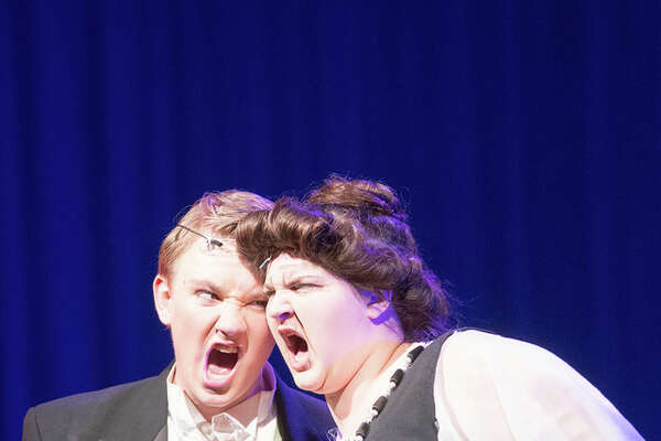 "Kingwood High junior Chase Callahan, left, shown with Jenna Redmond, scored a Tommy Tune nomination for best supporting actor as Cookie McGee in ""Nice Work if You Can Get It."" Kingwood High senior Emily Lawrence received a $3,000 scholarship. She plans to study lighting design in college."