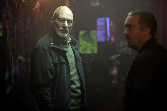 "This image released by A24 Films shows Patrick Stewarrt in a scene from, ""Green Room."" (Scott Green/A24 via AP)"