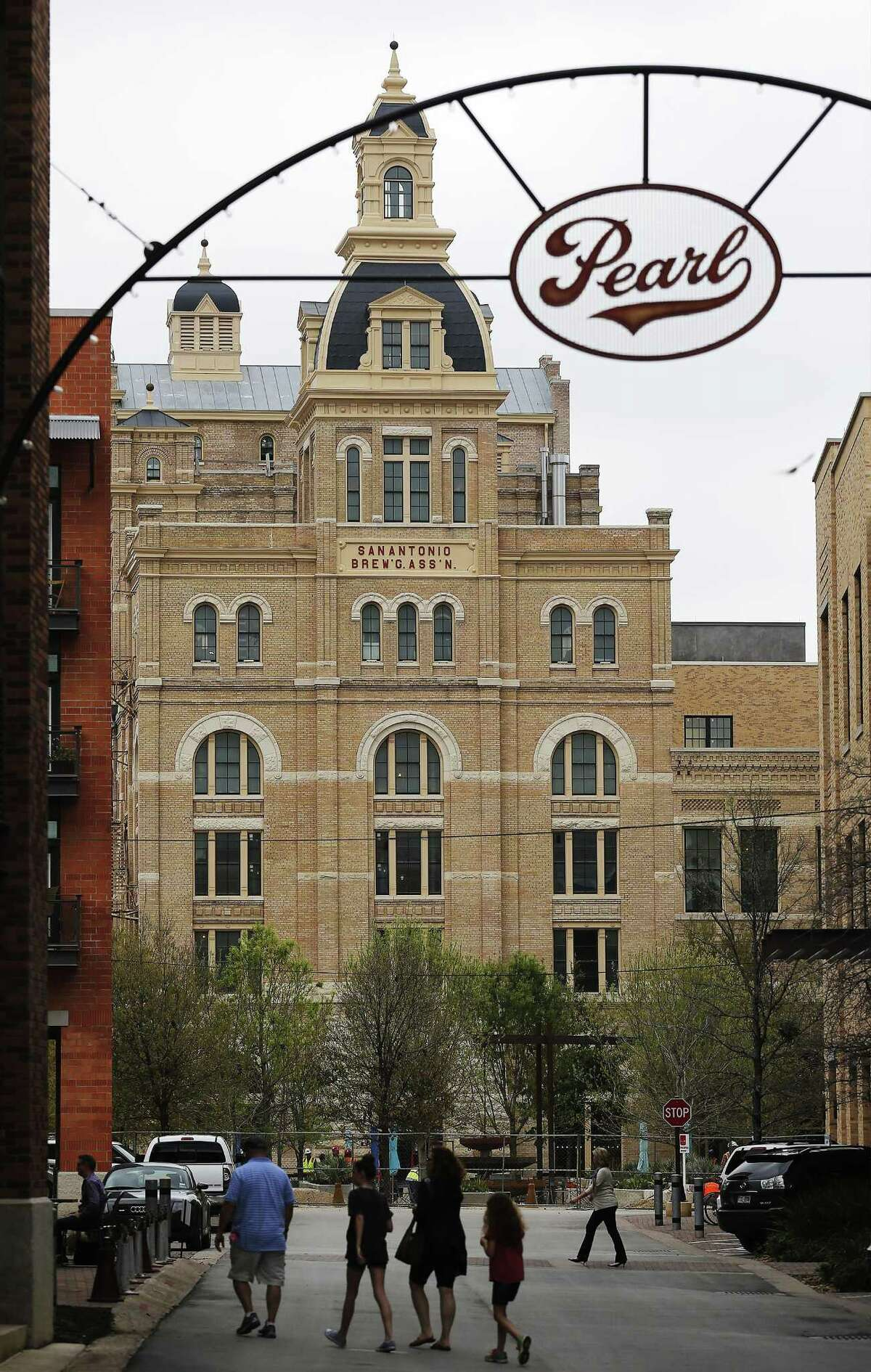 View of the former Pearl Brewery brewhouse, or Hotel Emma.