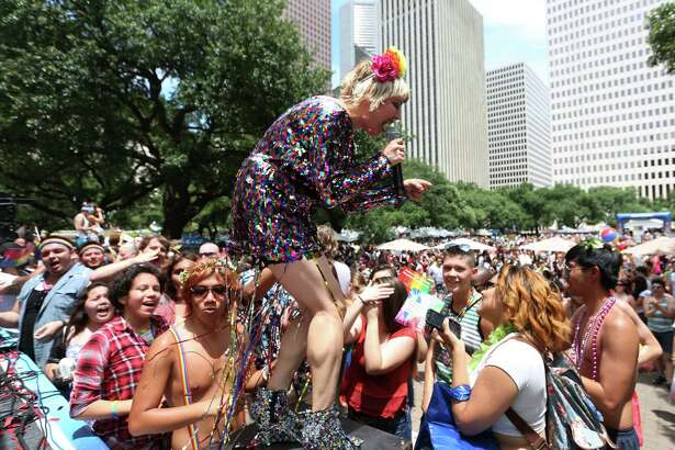 """Ginger Martinez, also known as """"Gin Martini,"""" and winner of Pride Superstar, performs at the 2015 Houston Pride Celebration Saturday, June 27, 2015, in Houston. ( Jon Shapley / Houston Chronicle )"""