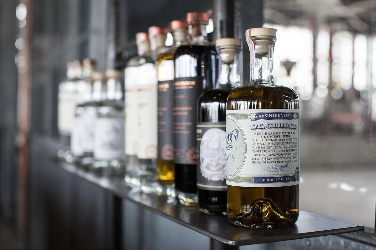 Alcohols made by St. George Sprits are seen on display at their tasting room in Alameda, Calif., on Sunday, April 24, 2016. The distillery has a tasting room and also gives tours.