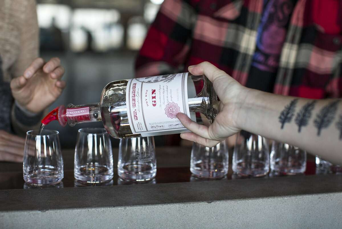 Gin is poured for a tasting in the tasting room at St. George Sprits in Alameda, Calif., on Sunday, April 24, 2016. The distillery has a tasting room and also gives tours.