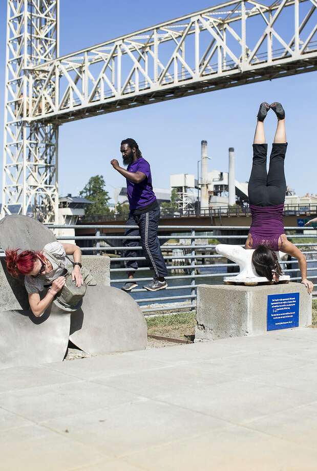 Dancers from Epiphany Productions rehearse for Island City Waterways, a free public art event in May that will celebrate the birth of the Island City of Alameda, in Alameda, Calif., on Sunday, April 17, 2016. Photo: Laura Morton, Special To The Chronicle