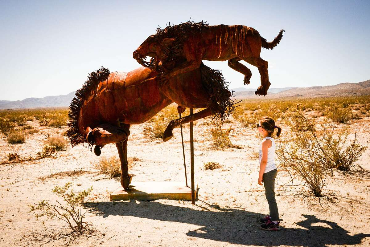 A total of 130 full-sized metal sculptures by Ricardo Breceda are scattered through the Borrego Springs area.
