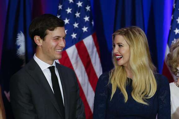 Jared Kushner and his wife, Ivanka Trump, smile at a Republican presidential candidate Donald Trump rally at a South Carolina Republican primary night event, Saturday, Feb. 20, 2016 in Spartanburg, S.C. (AP Photo/Paul Sancya)