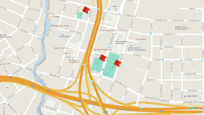 Local developer GrayStreet Partners has bought about 3.5 acres of property around the Pearl's main entrance over the last few years. This map is an approximate illustration of their properties, according to their portfolio on their website.