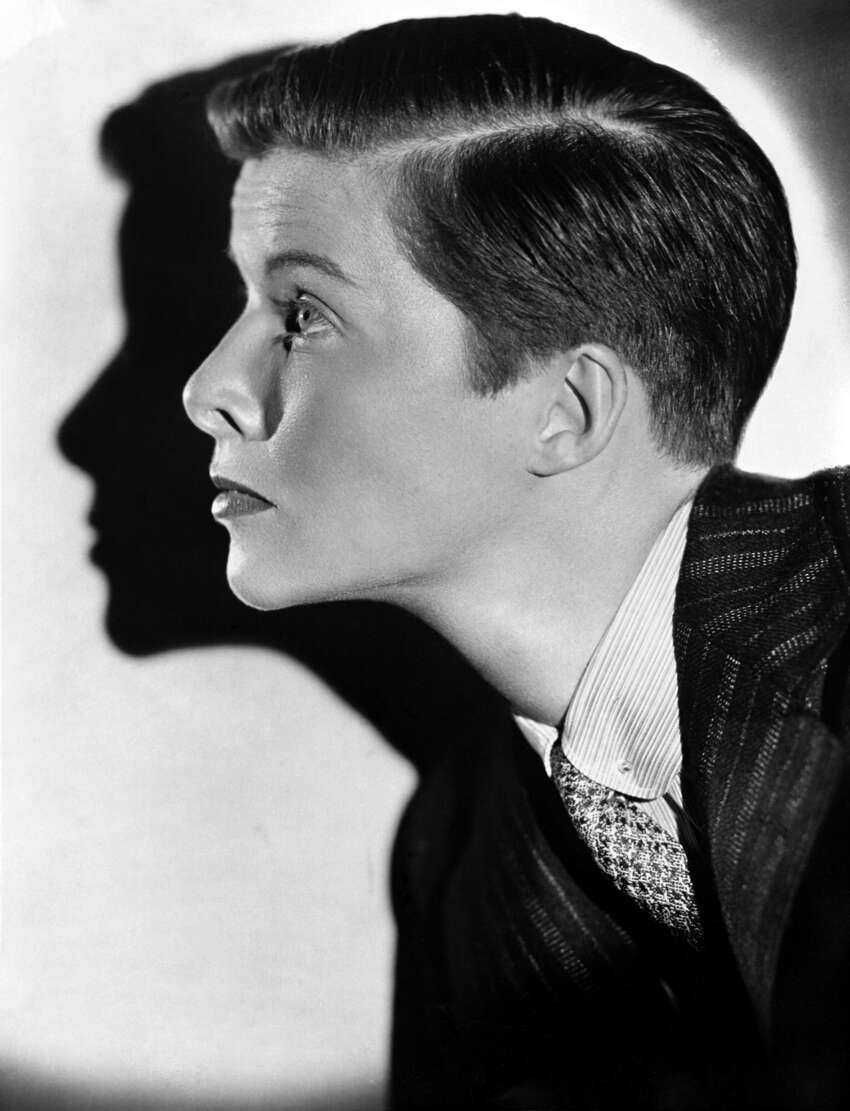Portrait of actress Katherine Hepburn on August 15, 1935 displaying her boyish haircut - her sacrifice for a Hollywood film. (AP Photo)